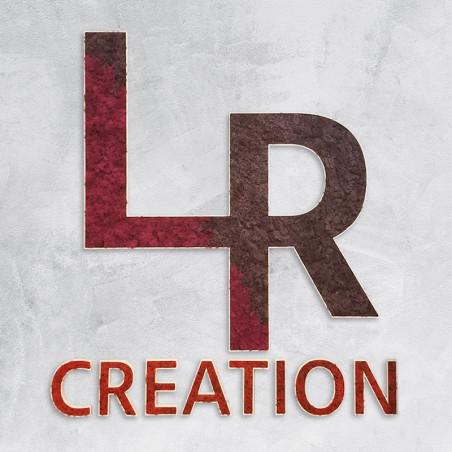 Logo LR Création végétal en lichen des rennes naturel sur un socle en PVC de 19 mm creusé