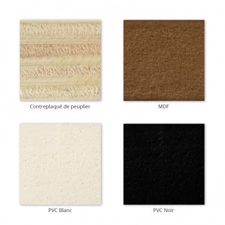 Matières pour les socles de nos enseigne végétales en lichen ou mousse : bois, PVC noir ou blanc et MDF
