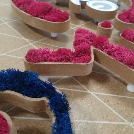 Enseigne logo végétal, socle en MDF creusé, lichen végétal naturel bleu et rose + impression numérique