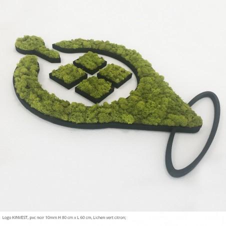 logo végétal Kinvest, support pvc, noir lichen vert citron