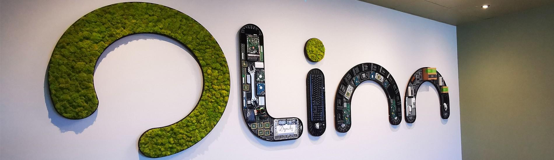lettres logo végétales , personnalisés , en collaboration avec l'artiste Dysabo, pvc noir + lichen vert citron et intérieur en recyclage électronique.